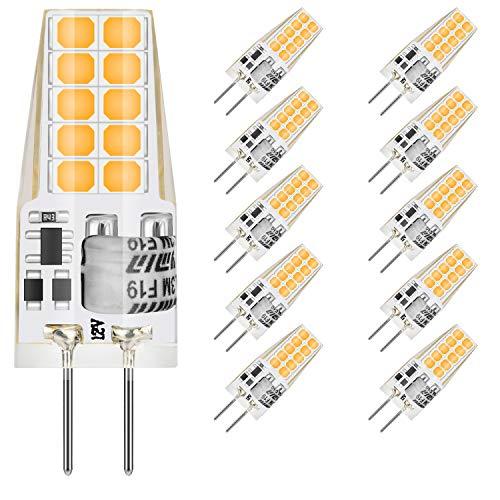 MUSUNIA g4 LED Lampen - 3W G4 LED Birnen 3000K Warmweiß 300lm, Ersatz für 35W Halogenlampen,Kein Flackern Nicht Dimmbar, 12V AC/DC, 10er Pack