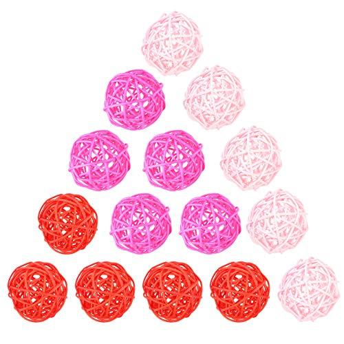 VALICLUD 15 Piezas Bolas de Ratán Bola de Mimbre Tejida de Ratán Colgantes Colgantes Mesa Del Día de San Valentín Decoraciones para Bodas (Rosa + Rosa + Rojo)