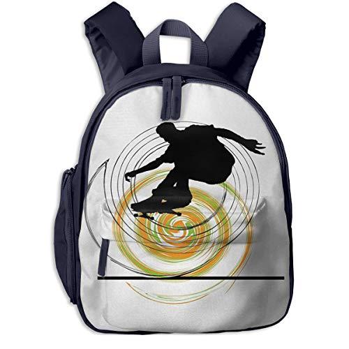 Children's Backpack Skater Man Spiral, Toddler Kids School Bag, Kinder Racksack for 2-6 Years Old