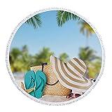 Toalla de Playa Redonda Toalla de Vacaciones en la Playa de Verano Toalla de Yoga para Mujeres Adultas con Flecos Toalla de protección Solar para el Muelle y la bahía Toalla para-5
