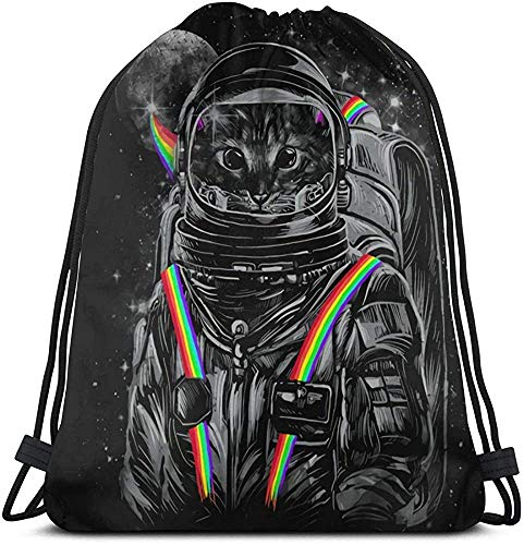 Astronaut Cat Cool Rainbow Unisex Outdoor Gym Sack Bag Travel Drawstring Backpack Bag