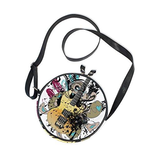 Cooper Girl Bolsa tiracolo redonda para guitarra em aquarela bolsa de ombro único para crianças, meninas, mulheres, meninos e adolescentes