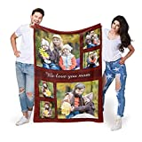 EastArts Personalized Throws Blanket with Pet Pictures and Family Photos, Cozy Fleece Blanket Customizable as Gifts for Grandma and Mom,Mother's Day