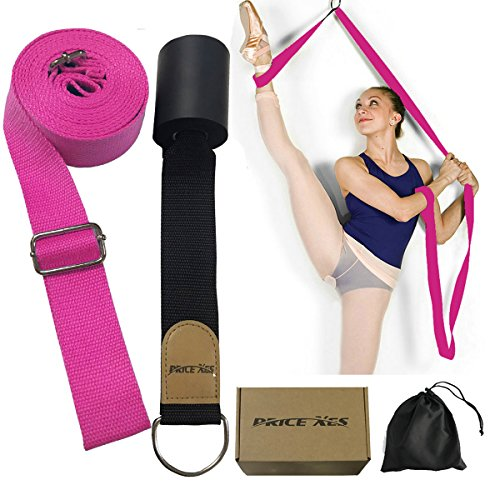 Adjustable Leg Stretcher Lengthen Ballet Stretch Band - Easy Install on Door Flexibility Stretching Leg Strap Great Cheer Dance Gymnastics Trainer stretching equipment taekwondo Training (rose)