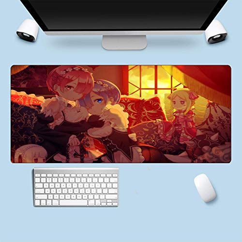 Alfombrillas de ratón,Grande Grueso Re Zero Rem Ram Anime Tapete para Teclado Tapete para Computadora Portátil Borde De Bloqueo Antideslizante Tapete De Mesa L