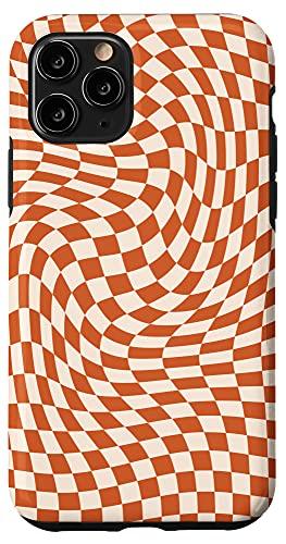 iPhone 11 Pro Orange Checkered Swirl Pattern Case