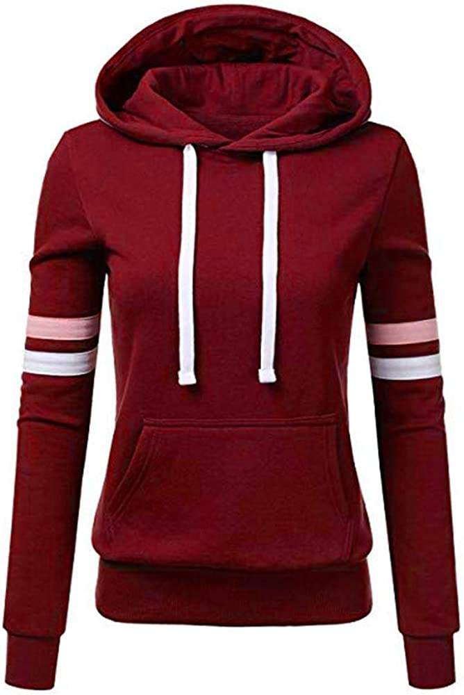 Women's Fashion Hoodies Striped Long Sleeve Sweatshirts Casual Plus Size Tops Hooded Drawstring Blouse with Pocket