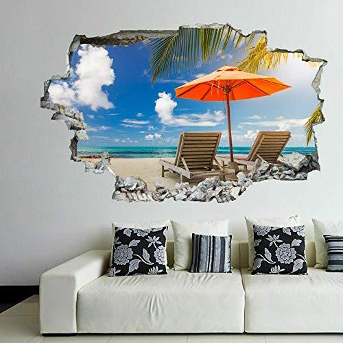 Pegatinas de pared Etiqueta engomada del mural de la etiqueta engomada del arte de la pared de la playa tropical exótica con efecto 3D Póster Arte 3D Mural 50x70cm