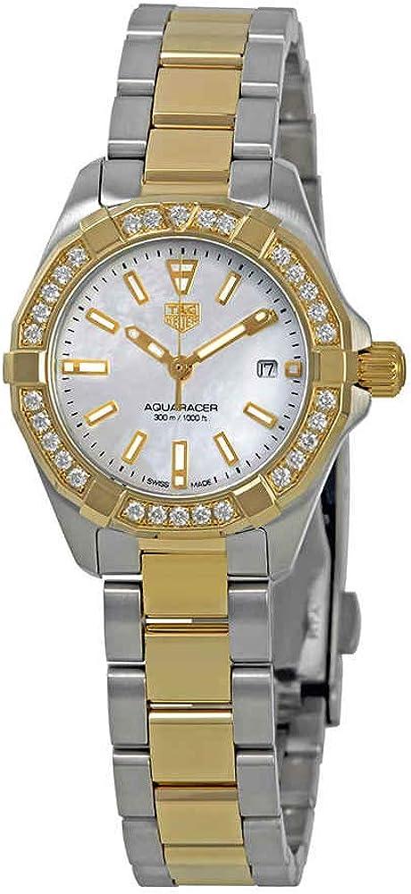 Tag heuer aquaracer, orologio da donna, in acciaio inossidabile placcato oro 18 kt, e ghiera con diamanti WBD1421.BB0321