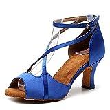 AOQUNFS Zapatos de Baile Latino Mujer Salsa y Bachata Altos Zapatos de Baile de Salón,QJ1030-6.5,Azul,EU38