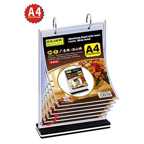 LXESWM A4 Flip Acryl Multifunctionele instructieplaatjes menu houder wijn water menu houder prijslijst tentoonstelling menu frame met 6 dubbelzijdige transparante losse bladen