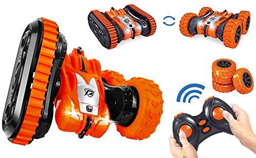 Winthai Ferngesteuertes Auto, Spielzeugauto, Stuntauto für Kinder Doppelseitiges 360°-Rotations-Rennfahrzeugspielzeug mit drahtloser 2,4-GHz-Fernbedienung kann als Geschenk verwendet Werden (Orange)