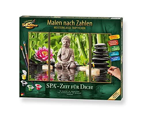 Schipper 609260750 Malen nach Zahlen, SPA, Zeit für Dich - Bilder malen für Erwachsene, inklusive Pinsel und Acrylfarben, Triptychon, 50 x 80 cm