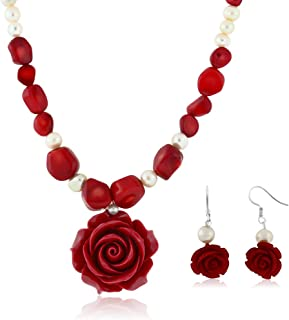 18inches Simulated Red Coral Cultured Freshwater Pearl Carved Rose Necklace + Earring