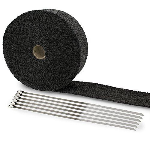 LIHAO Hitzeschutzband Fiberglas 10M Auspuffband + Kabelbinder für Fächerkrümmer Auto Motorrad Thermoband Krümmerband Schwarz
