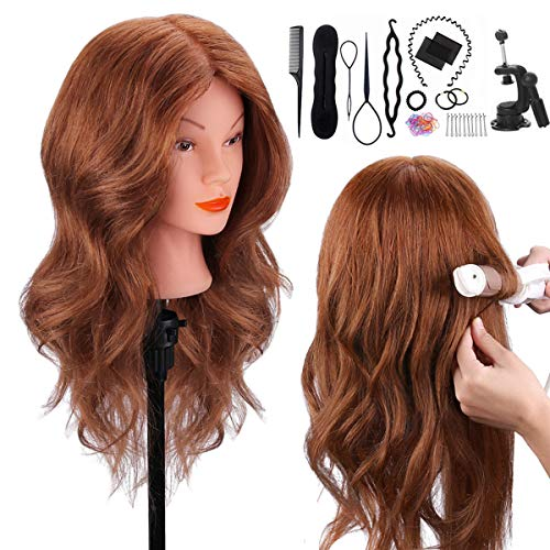 "Mannequin Head with 100% Human Hair, TopDirect 18"" Dark Brown Real Hair Cosmetology Mannequin Head Hair Styling Hairdressing Practice Training Doll Heads with Clamp Holder and Tools"