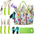 NAYE Garden Tool Set,Gardening Gifts for Women with Gardening Gloves,Garden Tote,Kneeling Pad,Hand Pruner,Trowel,Hand Rake,Weeder,Fork,Transplanter