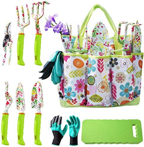 NAYE Garden Tool Set,Gardening Gifts for Women with Gardening Gloves,Garden Tote,Kneeling Pad,Hand Pruner,Trowel,Hand Rake,Weeder,Fork,Transplanter