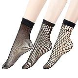 3 Pares Mujer Medias de Rejilla Medias Cortas, Calcetines Tobillos Encaje de Malla Red Rejilla Ropa Interior Mujer Verano