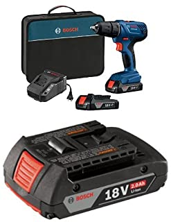 """Bosch GSR18V-190B22 18V Compact 1/2"""" Drill/Driver Kit with (2) 1.5 Ah Slim Pack Batteries with 2.0 AH battery"""
