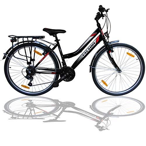 """Talson 26 Zoll Damenrad Shimano 21Gang 26\"""" Damen Fahrrad Black mit Beleuchtung nach STVZO"""