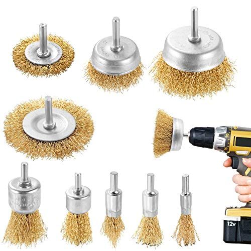 DazSpirit 9PCS Brass Coated Wire Brush Wheel & Cup Brush Set with 1/4-Inch Shank Brush Kit for Removal Rust/Corrosion/Paint -Reduced Wire Breakage and Longer Life Wire Brush Set for Drill