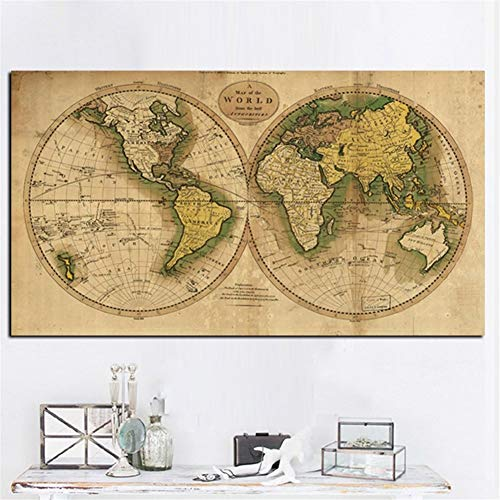 WXQHYD Wallpaper Paste Vintage Earth World Map Oil Painting Poster Retro Globe Maps Print On Canvas Picture Office Room Wall Art Home Decor No Frame Hanging Paintings (Size (Inch) : 40x70cm)