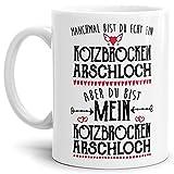 Tasse mit Spruch - Du bist Mein Kotzbrocken Arschloch - Liebeserklärung ironisch, Weiß, 300 ml