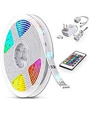 B.K.Licht LED Stripes, 5m Stripe, lint, strepen, LED strip, LED light strip, LED linten, fairy lights LED, wit, gekleurd, incl. afstandsbediening, incl. kleurverandering, zelfklevend