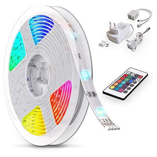 B.K.Licht LED Strip 5m, RGB Streifen, Strips, Band mit Farbwechsel, Stripes mit Fernbedienung, Lichtband selbstklebend, LED Leiste, Lichterkette bunt, Lichtleiste