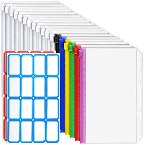 18 PCS A6 Binder Pockets, LEOBRO 6-Ring A6 Zipper Pouch for Budget Binder, Waterproof Plastic Envelope Folders Pouch Bags, Cash Envelope for A6 Binder Notebook, with 32 PCS Label Stickers