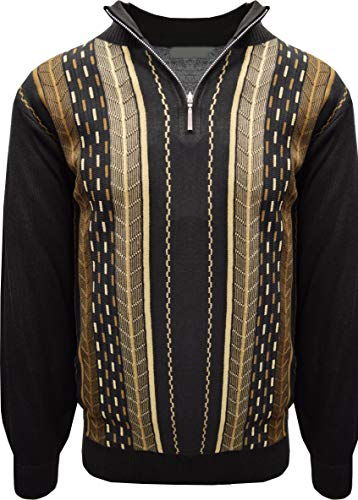 STACY ADAMS Men's Sweater, Vertical Dotted LINE (4XL, Brown)