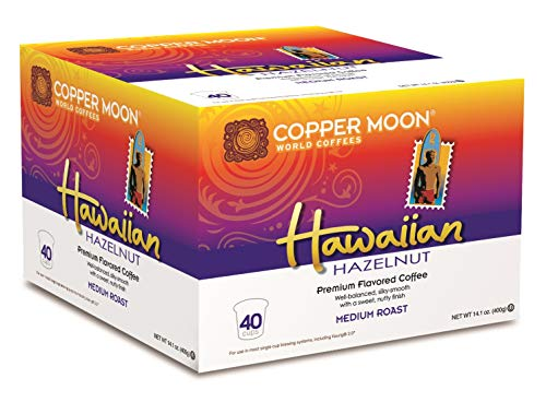Copper Moon Coffee Single Serve Pods for Keurig 2.0 K-Cup Brewers, Hawaiian Hazelnut Blend, Medium Roast Coffee, Silky Smooth with a Sweet Nutty Finish, 40 Count