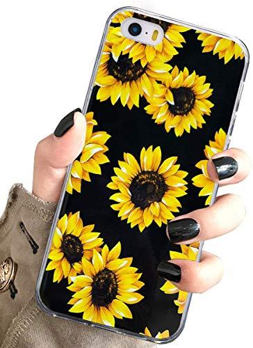 J.west iPhone 5S , , Hülle, Vintage Floral niedlich Gelb Sonnenblumen Schwarz Weiche Abdeckung für Mädchen/Frauen TPU Silikon Slim Design Muster Apple iPhone 5 5S SE