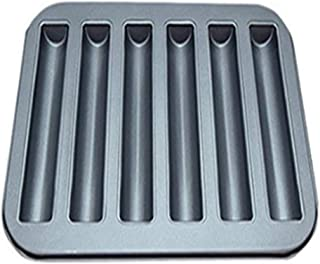 NBZLY Carbon Steel Cream Canoe, 6-Cavity Non-Stick Mini Hot Dog Muffin Baking Pan, Durable,Ideal Mold for Mousse, Gelatin, Eclairs, Hot Dog Rolls and Muffins