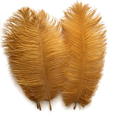 Shekyeo Gold 10-12inch 25-30cm Ostrich Feather Home Decoration DIY Craft Pack of 10