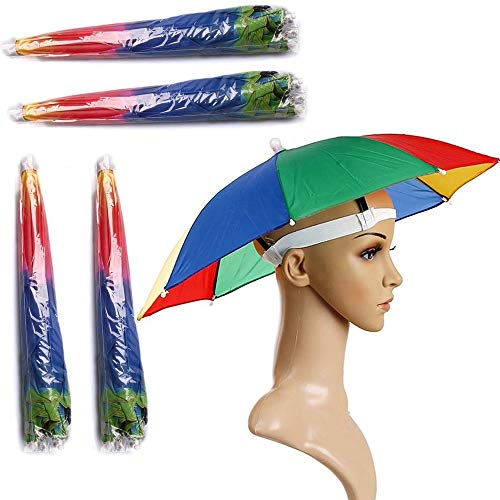 "4 Pack Umbrella Hat , Rainbow Adult Cap Multicolor Hands With Head Strap , 21"" Diameter Folding Waterproof Elastic Fishing Headwear For Sun , Rain , Beach , Golf , Hiking , Party Color Randomly"