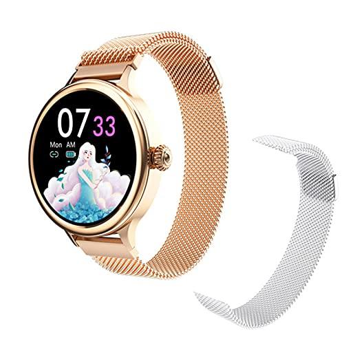 LJMG Smart Watch H58 Smart Watch Smart Watch, Schermo Circolare Completo A Ciclo Completo, Orologio da Donna HM4, Cinturino da Donna, Cinturino da Donna per Andro,A
