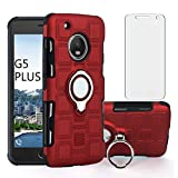 Asuwish Compatible with Moto G5 Plus Case Tempered Glass Screen Protector Cover and Stand Ring Accessories Holder Hard Phone Cases for Motorola MotoG5 G 5 5th Gen Generation G5+ XT1687 G5plus Red