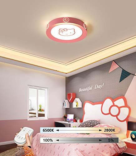 HIL LED Plafonnier, Plafonnier Simple Hello Kitty Bluetooth, Lampe Ronde pour Enfants en Forme De Dessin Animé Rose, Lampes Acryliques De Mode pour Garçon Et Fille,52CM/36W