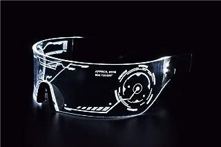 Cyberpunk LED Tron Visor Glasses - Perfect For Cosplay and Festivals - Cybergoth - Cyberpunk Glasses Goggles (White)