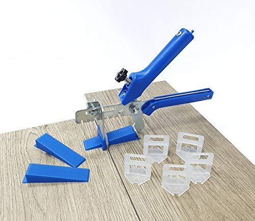Fliesen Nivelliersystem Blau Fliesenstärke 3-12 mm Basis+-Set 1 mm 400 Laschen 100 Keile + Zange -Verlegesystem Fliesenverlegung Fliesenverlegehilfe Fliesenverlegesystem Fliesennivelliersystem