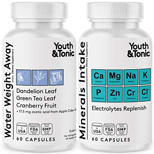Water Weight Pills to Thin Waistline & Relief Belly Bloat Ankle & Leg Swelling + Electrolytes Support w/Potassium B6 VIT   Dandelion Natural Diuretic Supplement for Water Retention Loss   Woman & Men