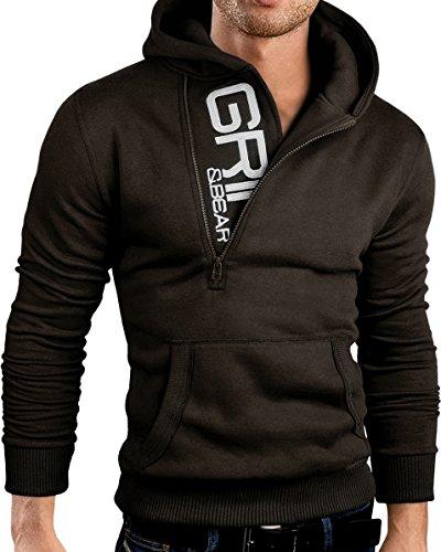 Grin&Bear Slim Fit Half Zip Hoodie Jacket Embroidered Sweatshirt, GEC401