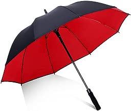 JPVGIA Folding Umbrella, Windproof Double Manual Reinforcement 8 Skeleton Umbrella Black Red