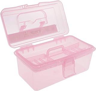 B Baosity Scatola di Plastica con Stoccaggio con Coperchio e Doppio Strato per Cosmetici Articoli per Cucito