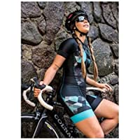 サイクリングスーツ女性の職業トライアンロンスーツの服サイクリングスキンスーツロンパースジャンプスーツキット夏 (Color : 100, Size : Large)