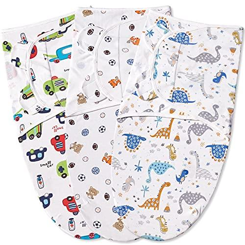 Bubble bear 3-Pack Newborn Baby Swaddles 0-3 Months,Organic Infant Baby Swaddle Sleep Sacks,Boy Girl Infant Adjustable Cotton Swaddle Blanket,Swaddling Wrap Blanket Sleeping Bag