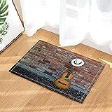 Sombrero de panamá decoración Musical en Guitarra apoyada contra la Pared de ladrillo Alfombra de Puerta Antideslizante Alfombra de Puerta de Inodoro Alfombra de baño para niños 50x80cm