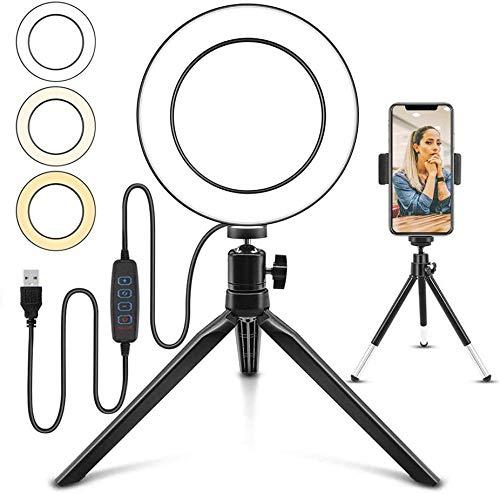 6 LED-ringlicht Dimbaar 3 Lichtmodi 11 Helderheidsniveau Bureau-make-up Selfie-ringlicht met flexibele telefoonhouder en versterker Statief voor livestreaming en YouTube-videofotografie(Upgrade)